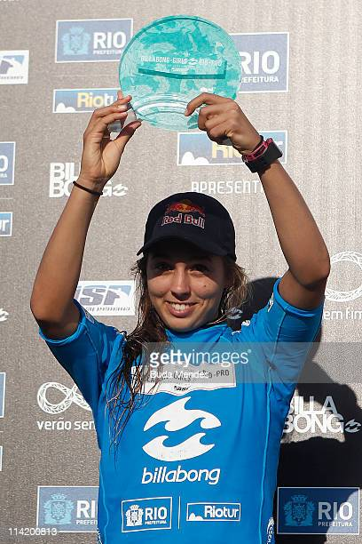 Sally Fitzgibbons celebrates the second place of the Billabong Rio Gilrs Pro at Barra da Tijuca on May 15 2011 in Rio de Janeiro Brazil