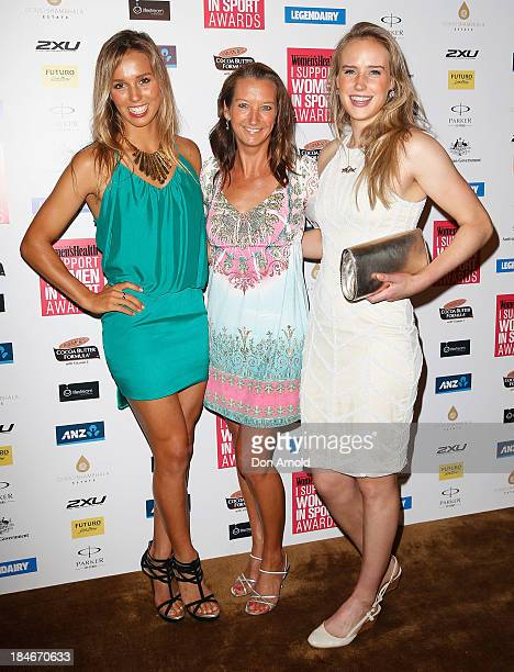 Sally Fitzgibbons Layne Beachley and Ellyse Perry arrive at the 'I Support Women In Sport' awards at The Ivy Ballroom on October 15 2013 in Sydney...