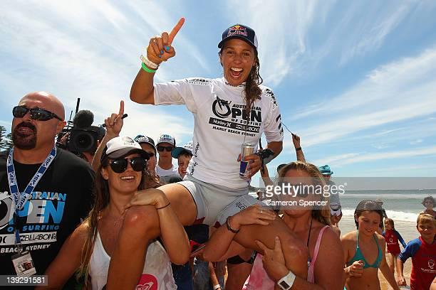Sally Fitzgibbons of Australia celebrates winning the Women's Final of the 2012 Australian Surfing Open on February 19 2012 in Manly Australia