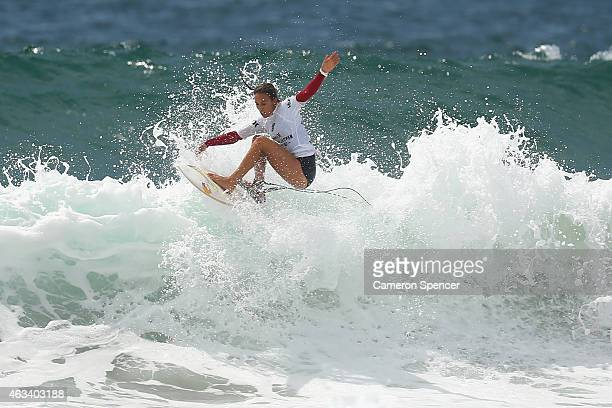 Sally Fitzgibbons of Australia competes during the women's heats of the Australian Open of Surfing on February 14 2015 in Sydney Australia