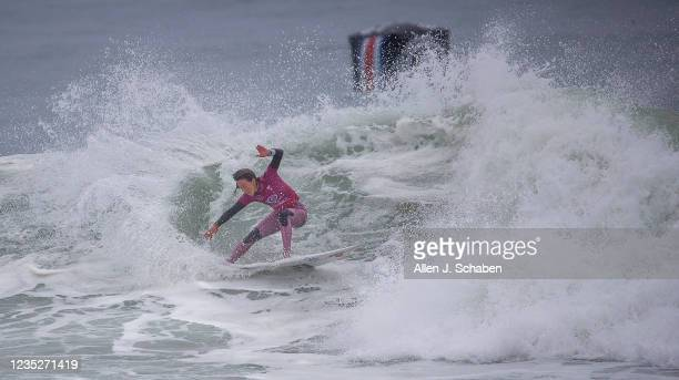 Sally Fitzgibbons, of Australia, turns on a big wave while competing against Johanne Defay of France, at the Rip Curl WSL Finals Tuesday, Sept. 14,...
