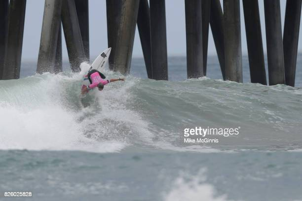 Sally Fitzgibbons surfing during the Vans US Open of Surfing on August 01 2017 in Huntington Beach CA