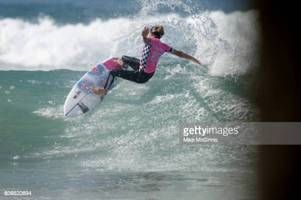 Sally Fitzgibbons surfs during the Vans US Open of Surfing on August 3 2017 in Huntington Beach California