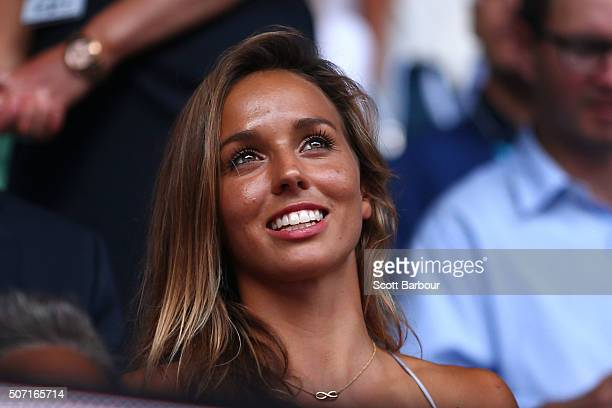 Sally Fitzgibbons watches the semi final match between Angelique Kerber of Germany and Johanna Konta of Great Britain during day 11 of the 2016...