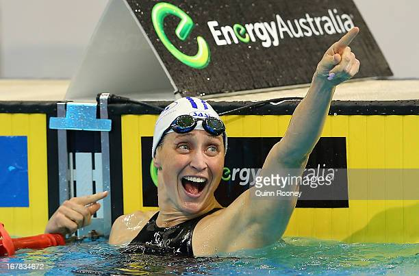 Sally Foster of Australia celebrates winning the Women's 200 Metre Breaststroke during day six of the Australian Swimming Championships at SA Aquatic...