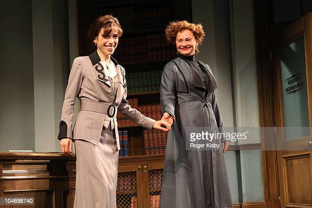 Sally Hawkins and Cherry Jones perform onstage at the opening night of 'Mrs Warren's Profession' at Roundabout Theatre Company's American Airlines...