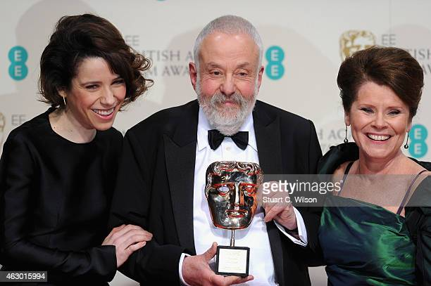 Sally Hawkins Mike Leigh and Imelda Staunton poses in the winners room at the EE British Academy Film Awards at The Royal Opera House on February 8...