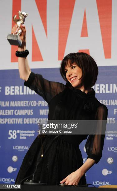 Sally Hawkins poses with the Silver Bear for the Best Actress for her role in HappyGoLucky during the Award Ceremony as part of the 58th Berlinale...