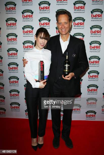 Sally Hawkins winner of Best Supporting Actress for 'Blue Jasmine' and Richard E Grant during the Jameson Empire Awards 2014 at the Grosvenor House...