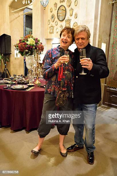 Sally Holkar with Rohit Bal at the launch of his first home collectibles and apparel line called HusnETaairaat at Good Earth on November 12 2016 in...