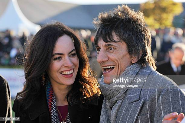 Sally Humphreys and Ronnie Wood at Punchestown Racecourse on April 30 2015 in Naas Ireland