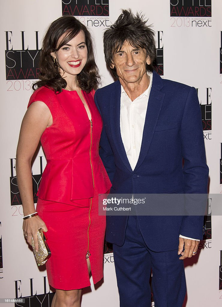 Sally Humphreys and Ronnie Wood attend the Elle Style Awards on February 11, 2013 in London, England.