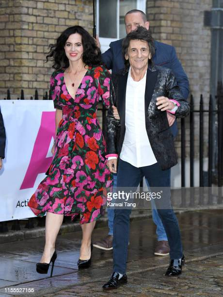 Sally Humphreys and Ronnie Wood attend the first annual gala dinner in recognition of Addiction Awareness Week at Phillips Gallery on June 12 2019 in...
