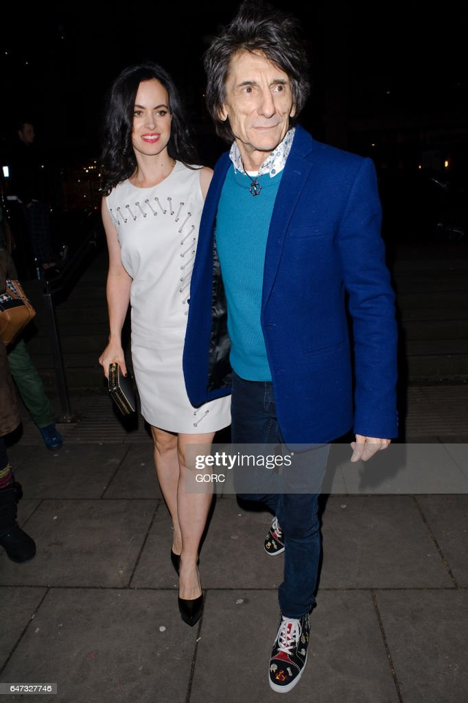 Sally Humphreys and Ronnie Wood attending Save the Children's Night of Country at the Roundhouse Camden on March 2, 2017 in London, England.