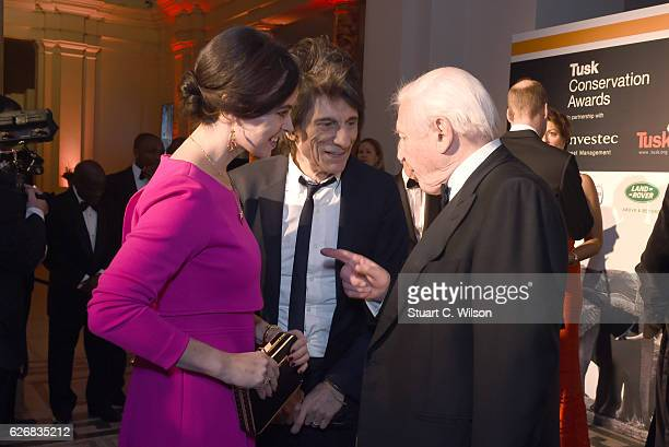 Sally Humphries Ronnie Wood and Sir David Attenborough attend the Tusk Trust Awards at Victoria Albert Museum on November 30 2016 in London England