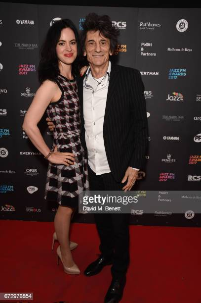 Sally Humphries Ronny Wood attend the Jazz FM Awards 2017 at Shoreditch Town Hall on April 25 2017 in London England
