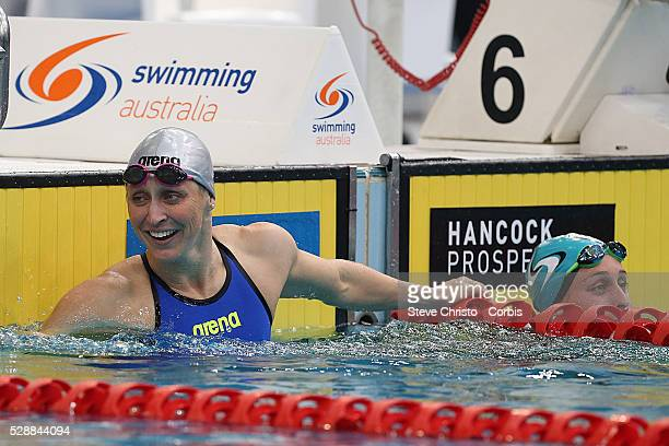 Sally Hunter finishes the Women's 50m Breaststroke final during the Hancock Prospecting Australian Swimming Championships at the Sydney Aquatic...