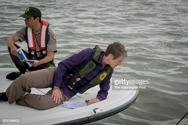 Sally Jewell United States Secretary of the interior along with Pedro Ramos superintendent of Everglades and Dry Tortugas National Parks in Florida...