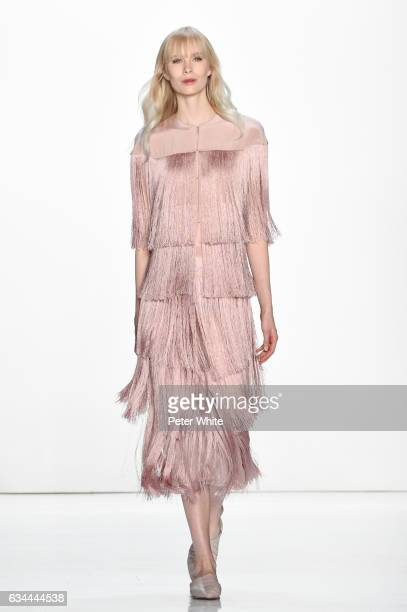 Sally Jonsson walks the runway at Erin Fetherston show during New York Fashion Week Gallery 3 Skylight Clarkson Sq on February 9 2017 in New York City