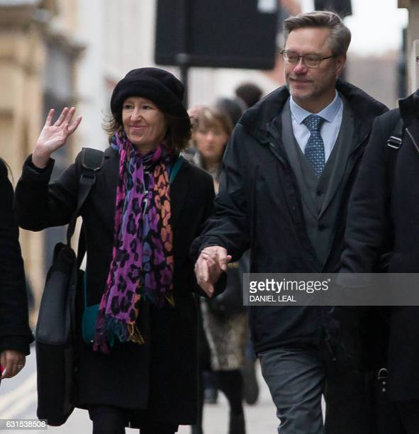 Sally Lane and John Letts parents of Jack Letts who is believed to have left the UK to join Islamic State arrive at the Old Bailey court in central...