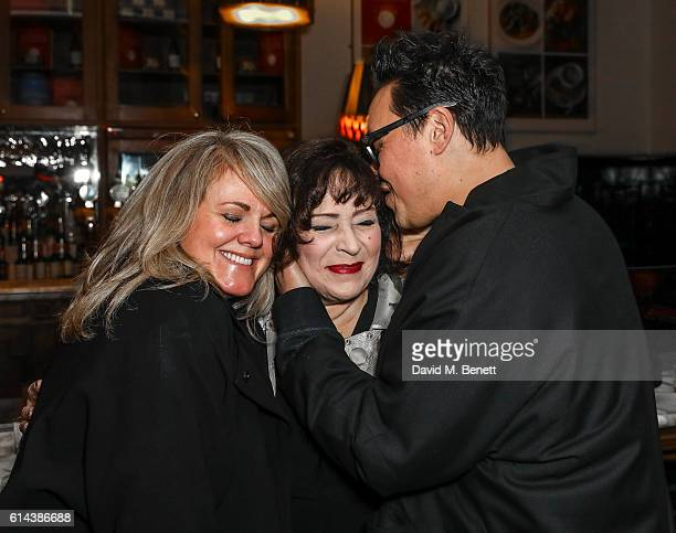 Sally Lindsey Harriet Thorpe and Gok Wan attend the press night after party for 'The Dresser' at The National Cafe on October 13 2016 in London...