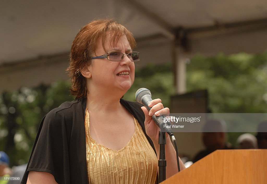 Sally Liuzzo-Pardo, daughter of civil rights martyr Viola Liuzzo, who was murdered by the Ku Klux Klan in Alabama in 1963, speaks to the crowd at a rally after the 50th Anniversary Freedom March on June 22, 2013 in Detroit, Michigan.