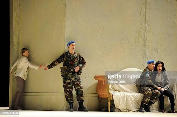 Sally Matthews as Fiordiligi Troy Cook as Guglielmo Charles Castronovo as Ferrando and Nino Surguladze as Dorabella in the Royal Opera's production...
