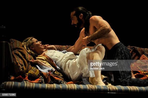 Sally Matthews as Konstanze and Franck Saurel as Pasha Selim in Wolfgang Amadeus Mozart's Die Entfuhrung aus dem Serail directed by David McVicar and...