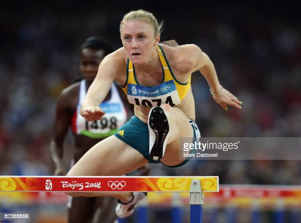 Sally Mclellan of Australia competes in the Women's 100m Hurdles Heats held at the National Stadium on Day 9 of the Beijing 2008 Olympic Games on...