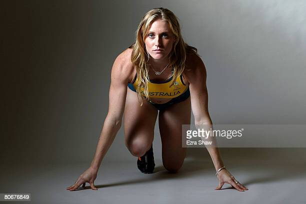 Sally McLellan of Australia poses for a portrait following the Australian Olympic competition uniform launch at Luna Park April 14 2008 in Sydney...