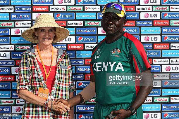 Sally Morrison of the Bay of Plenty Cricket Trust presents Steve Tikolo of Kenya with the man of the match award after an ICC World Cup qualifying...