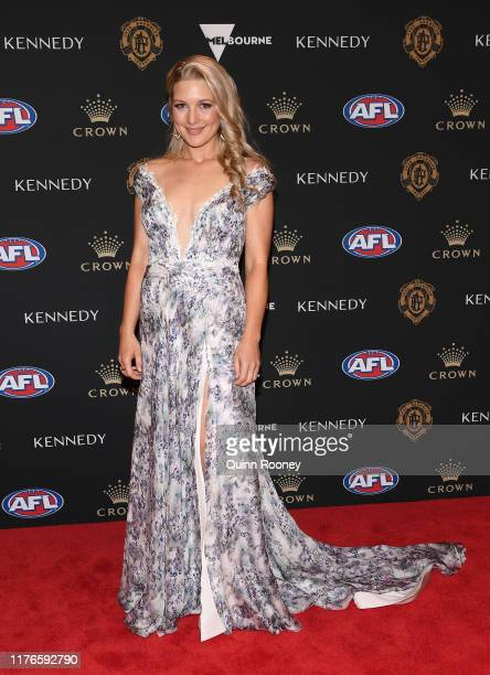 Sally Mundy arrives ahead of the 2019 Brownlow Medal at Crown Palladium on September 23 2019 in Melbourne Australia