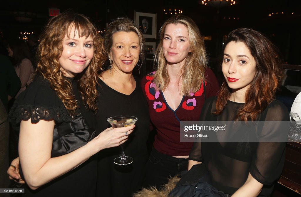 Sally Murphy, Linda Emond, Betty Gilpin and Cristin Milioti pose at The Opening Night after Party for 'Admissions' at PJ Clarke's on March 12, 2018 in New York City.