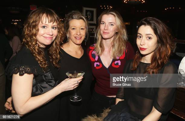 Sally Murphy Linda Emond Betty Gilpin and Cristin Milioti pose at The Opening Night after Party for 'Admissions' at PJ Clarke's on March 12 2018 in...