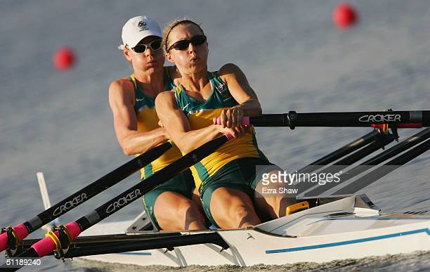 Sally Newmarch and Amber Halliday of Australia compete in the women's lightweight double sculls semifinal on August 19 2004 during the Athens 2004...