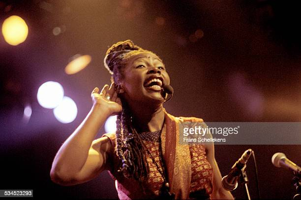 Sally Nyolo, vocals, performs on March 11th 1998 at the Melkweg in Amsterdam, Netherlands.