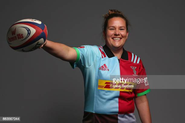 Sally Parker poses for a portrait during the Harlequins Ladies Squad Photo call for the 2017/18 Tyrrells Premier 15s Season at Surrey Sports Park on...