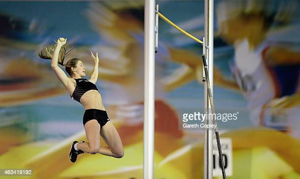 Sally Peake competes in the womens pole vault final during the Sainsbury's British Athletics Indoor Championships at English Institute of Sport on...