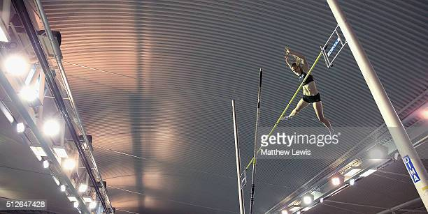 Sally Peake in action during the Womens Pole Vault during day one of the Indoor British Championships at English Institute of Sport on February 27,...