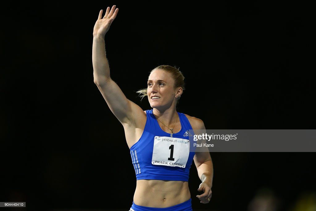 Sally Pearson acknowledges the spectators after competing in and winning the women's 100 metre hurdles during the Jandakot Airport Perth Track Classic at WA Athletics Stadium on January 13, 2018 in Perth, Australia.
