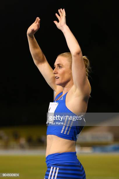 Sally Pearson acknowledges the spectators after winning the women's 100 metre hurdles during the Jandakot Airport Perth Track Classic at WA Athletics...