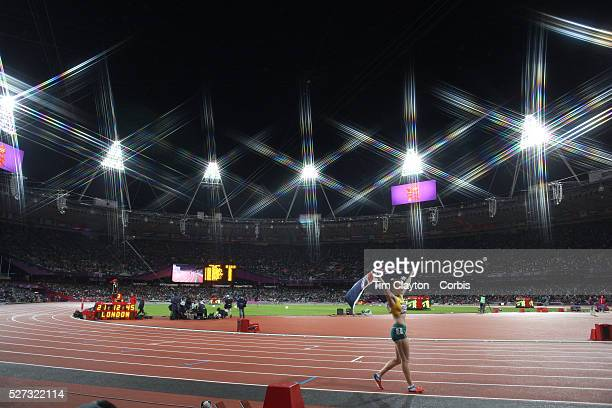 Sally Pearson Australia winning the Gold Medal in the Women's 100m Hurdles Final at the Olympic Stadium Olympic Park during the London 2012 Olympic...