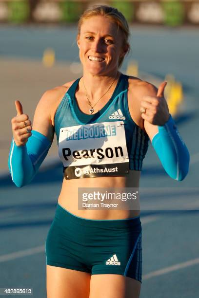 Sally Pearson celebrates winning the 100m final during the 92nd Australian Athletics Championships at Olympic Park on April 3 2014 in Melbourne...