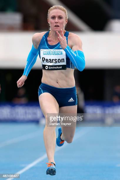 Sally Pearson competes in the 100metres during the 92nd Australian Athletics Championships at Olympic Park on April 4 2014 in Melbourne Australia