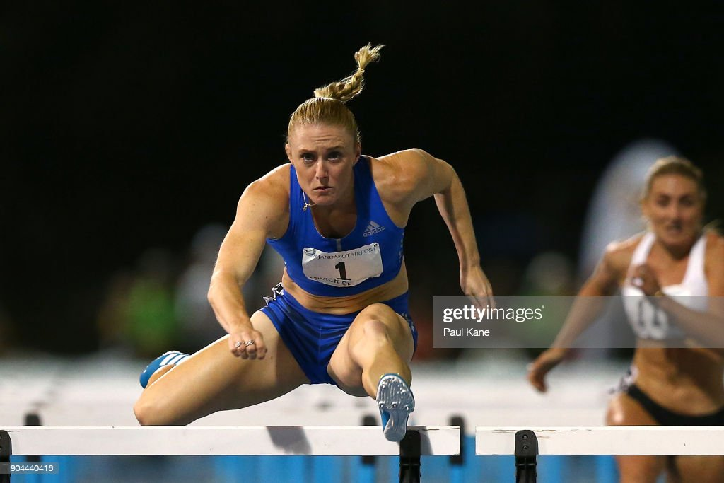 Sally Pearson competes in the women's 100 metre hurdles during the Jandakot Airport Perth Track Classic at WA Athletics Stadium on January 13, 2018 in Perth, Australia.