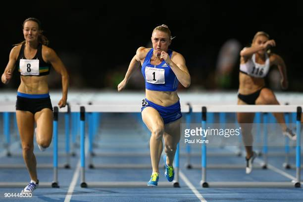 Sally Pearson competes in the women's 100 metre hurdles during the Jandakot Airport Perth Track Classic at WA Athletics Stadium on January 13 2018 in...