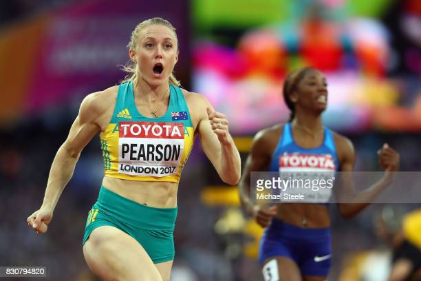 Sally Pearson of Australia after winning gold in the Women's 100 metres hurdles final during day nine of the 16th IAAF World Athletics Championships...