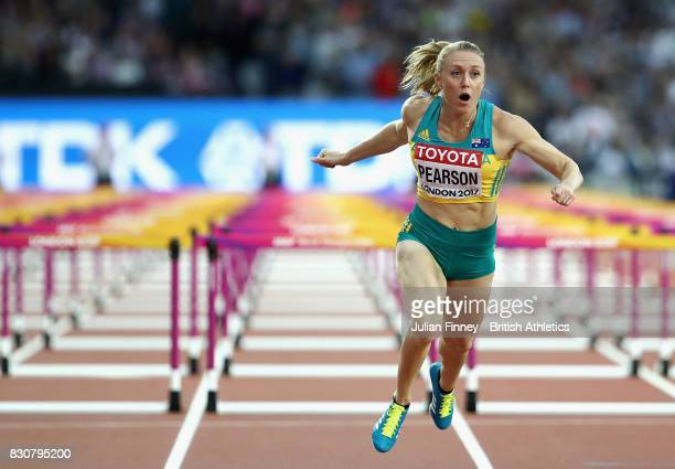 Sally Pearson of Australia as she crosses the finishline to win gold in the Women's 100 metres hurdles final during day nine of the 16th IAAF World...