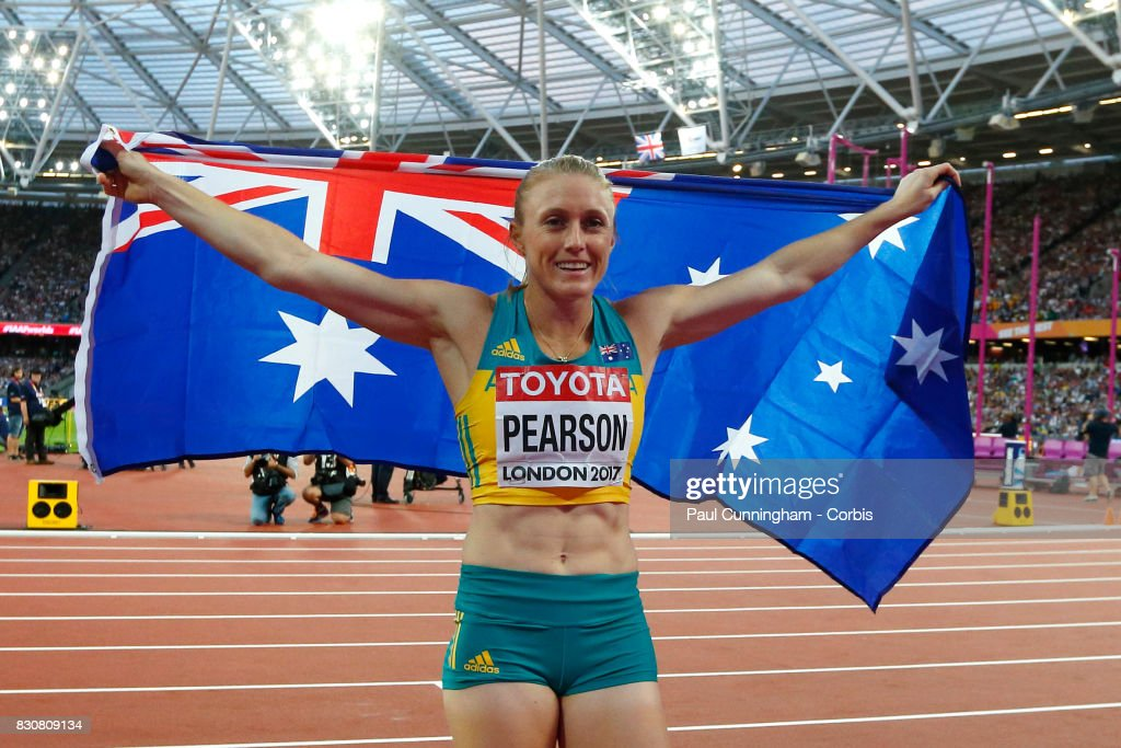 Sally Pearson of Australia celebrates after winning the Women's 100m hurdles Final during day nine of the 16th IAAF World Athletics Championships London 2017 at The London Stadium on August 12, 2017 in London, United Kingdom.