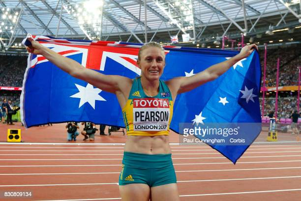Sally Pearson of Australia celebrates after winning the Women's 100m hurdles Final during day nine of the 16th IAAF World Athletics Championships...